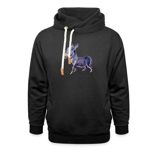 Funny Keep Smiling Donkey - Unisex Shawl Collar Hoodie