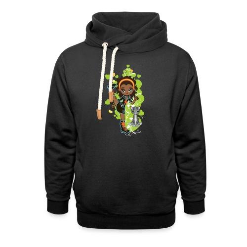 Aisha the African American Chibi Girl - Unisex Shawl Collar Hoodie
