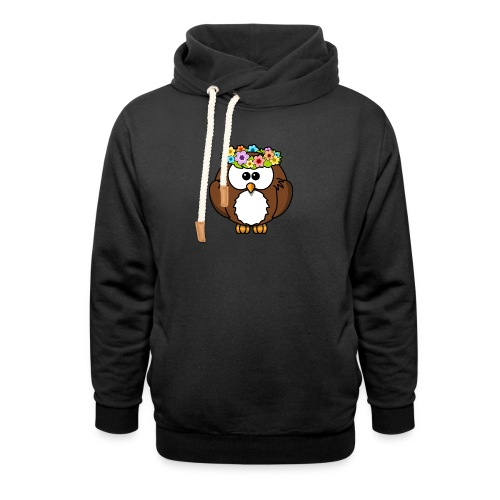 Owl With Flowers On Head T-Shirt - Shawl Collar Hoodie