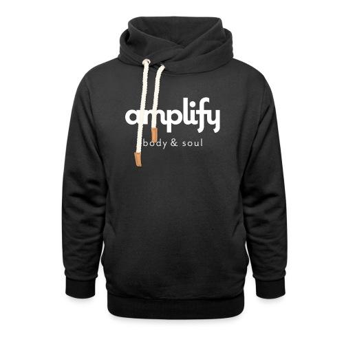 amplify logo // white - Shawl Collar Hoodie
