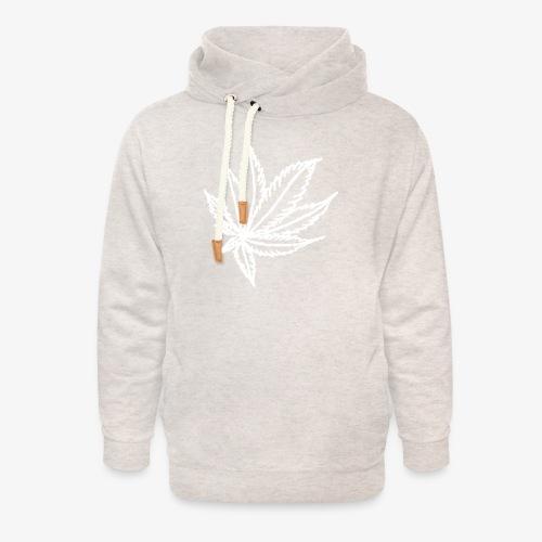 white leaf w/myceliaX.com logo - Unisex Shawl Collar Hoodie