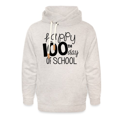Happy 100th Day of School Chalk Teacher T-Shirt - Unisex Shawl Collar Hoodie
