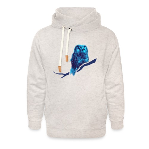 owl bird fowl blue - Unisex Shawl Collar Hoodie