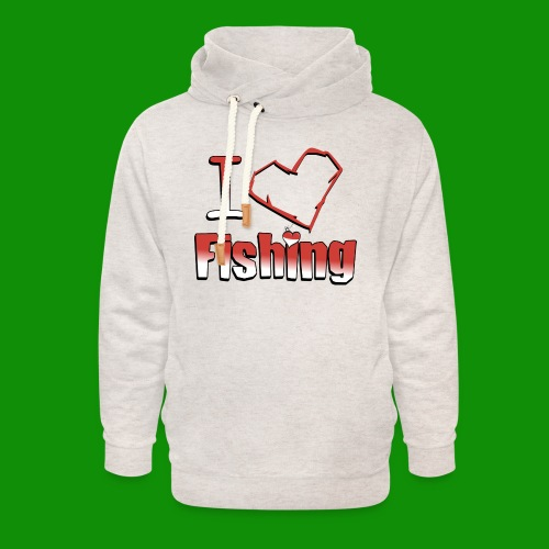 I heart fishing - Unisex Shawl Collar Hoodie