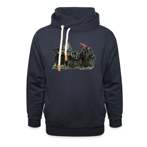 Three Young Crows - Shawl Collar Hoodie