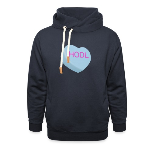 HODL - Hold on For Dear Life - Candy Heart - blue - Shawl Collar Hoodie