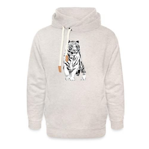 Stately White Tiger - Unisex Shawl Collar Hoodie