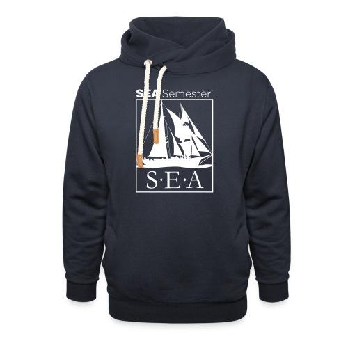 SEA_logo_WHITE_eps - Unisex Shawl Collar Hoodie