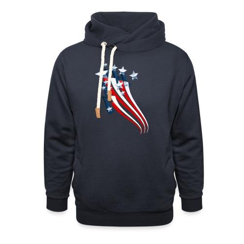 Sweeping American Flag - Unisex Shawl Collar Hoodie