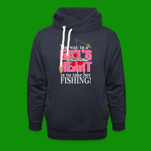 Fishing - Way to a Girl's Heart - Unisex Shawl Collar Hoodie