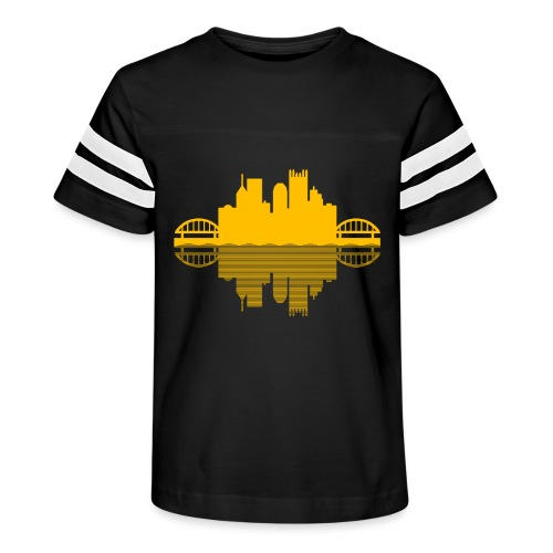 Pittsburgh Skyline Reflection (Gold) - Kid's Vintage Sport T-Shirt