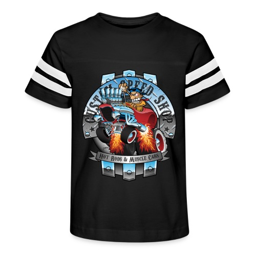 Custom Speed Shop Hot Rods and Muscle Cars Illustr - Kid's Vintage Sport T-Shirt