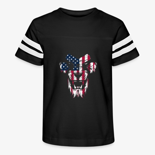 Lovely American Lion USA Flag Silhouette Portrait - Kid's Vintage Sport T-Shirt