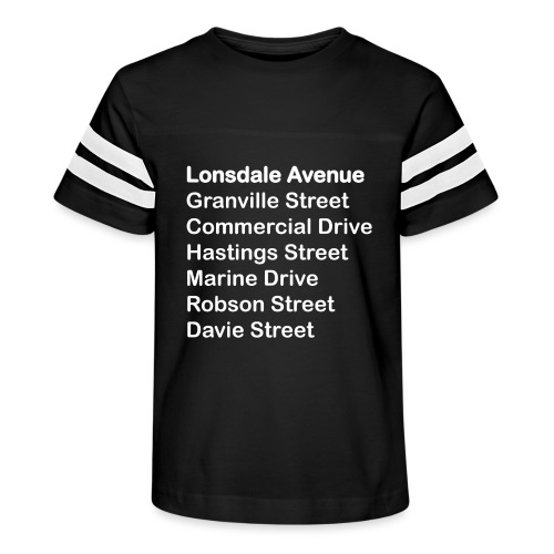 Street Names White Text - Kid's Vintage Sport T-Shirt