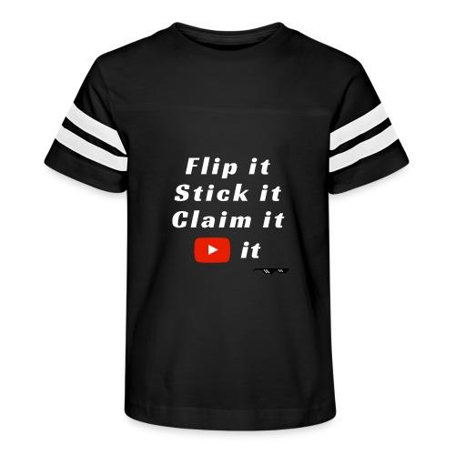 Flip It White Design T-Shirt - Back Flip Inverted - Kid's Vintage Sport T-Shirt