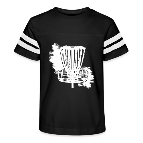 Disc Golf Basket White Print - Kid's Vintage Sport T-Shirt