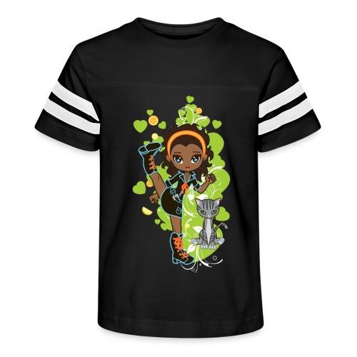Aisha the African American Chibi Girl - Kid's Vintage Sport T-Shirt