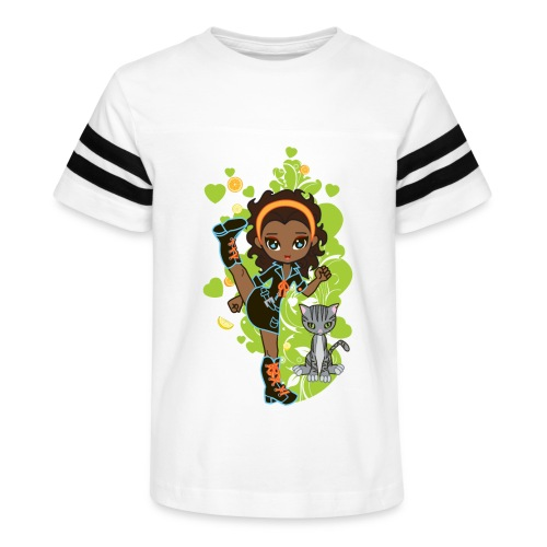 Aisha the African American Chibi Girl - Kid's Vintage Sport T-Shirt