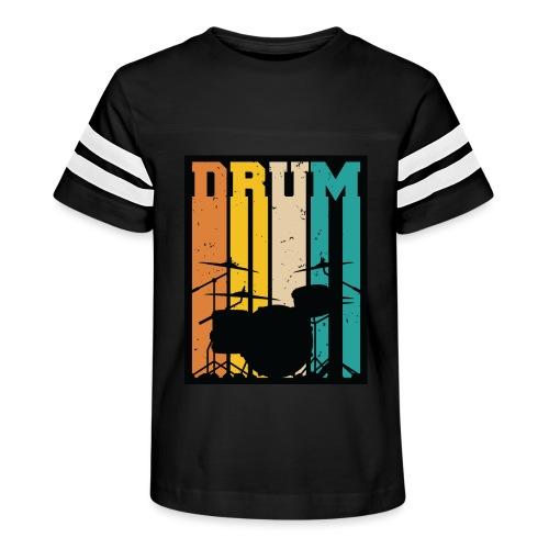 Retro Drum Set Silhouette Illustration - Kid's Vintage Sport T-Shirt
