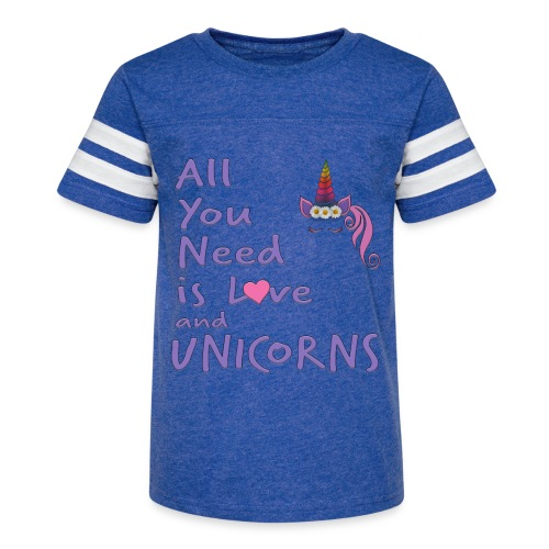 All You Need is LOVE and UNICORNS - Kid's Vintage Sport T-Shirt