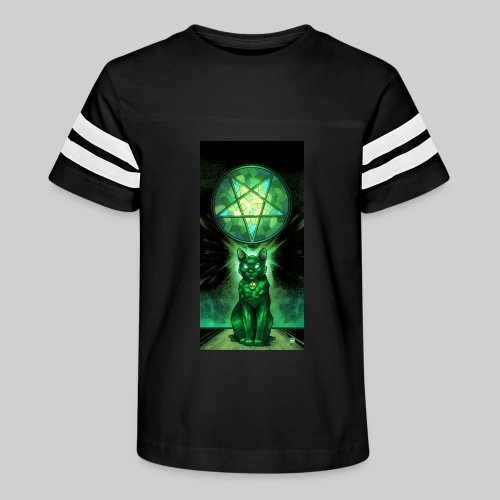 Green Satanic Cat and Pentagram Stained Glass - Kid's Vintage Sport T-Shirt