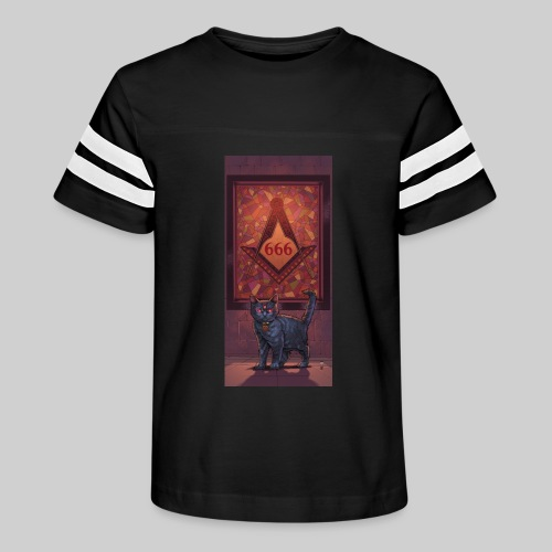 666 Three Eyed Satanic Kitten with Stained Glass - Kid's Vintage Sport T-Shirt