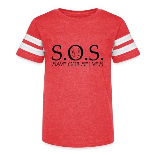 SOS Black on Black - Kid's Vintage Sports T-Shirt