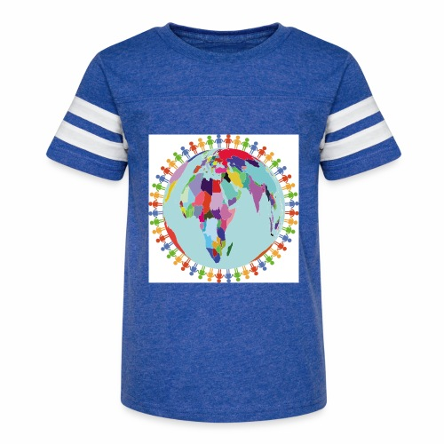 Community Group/Earth Globe/Earth Day/ Human Frame - Kid's Vintage Sport T-Shirt
