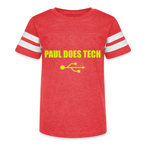 Paul Does Tech Yellow Logo With USB (MERCH) - Kid's Vintage Sport T-Shirt