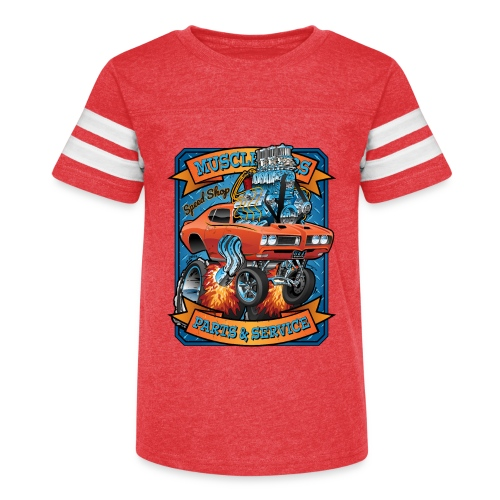 Classic Sixties Muscle Car Parts & Service Cartoon - Kid's Vintage Sport T-Shirt