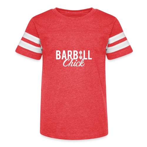 Barbell Fitness Chick - Kid's Vintage Sport T-Shirt