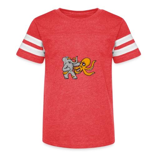 Elephant vs. Octopus T-Shirt - Kid's Vintage Sport T-Shirt