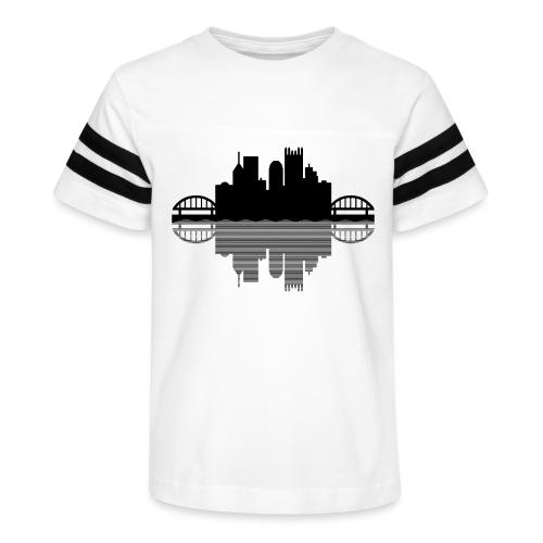 Pittsburgh Skyline Reflection (Black) - Kid's Vintage Sport T-Shirt