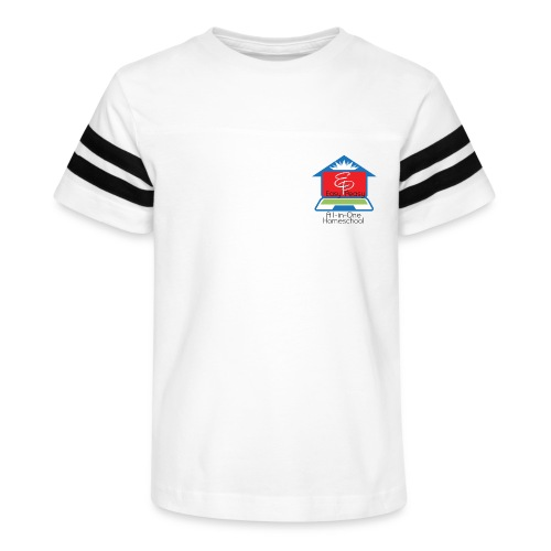 EP Logo with All-In-One Homeschool - Kid's Vintage Sports T-Shirt