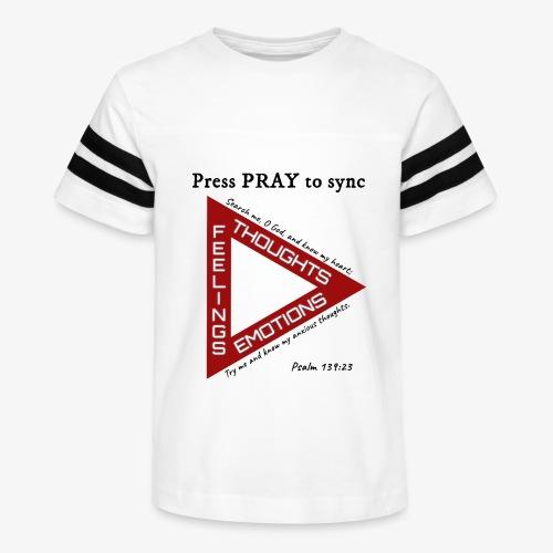 Press PRAY to Sync - Kid's Vintage Sport T-Shirt