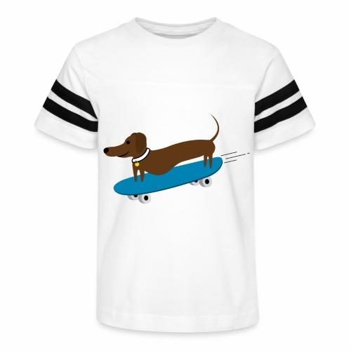 Dachshund Skateboarding - Kid's Vintage Sport T-Shirt