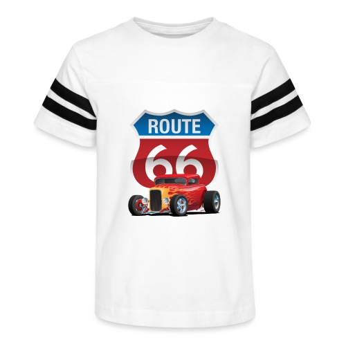 Route 66 Sign with Classic American Red Hotrod - Kid's Vintage Sport T-Shirt