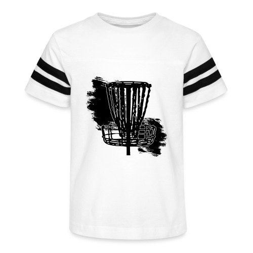 Disc Golf Basket Paint Black Print - Kid's Vintage Sport T-Shirt