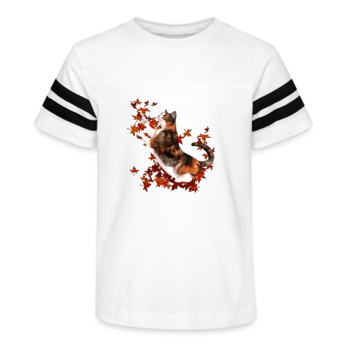 Autumn Cat - cat playing with autumn leaves - Kid's Vintage Sport T-Shirt