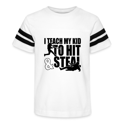 I Teach My Kid to Hit and Steal Baseball - Kid's Vintage Sport T-Shirt