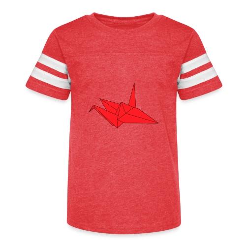 Origami Paper Crane Design - Red - Kid's Vintage Sport T-Shirt
