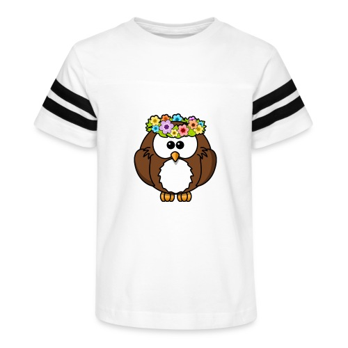 Owl With Flowers On Head T-Shirt - Kid's Vintage Sport T-Shirt