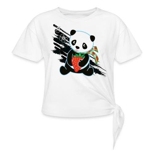 Cute Kawaii Panda T-shirt by Banzai Chicks - Women's Knotted T-Shirt