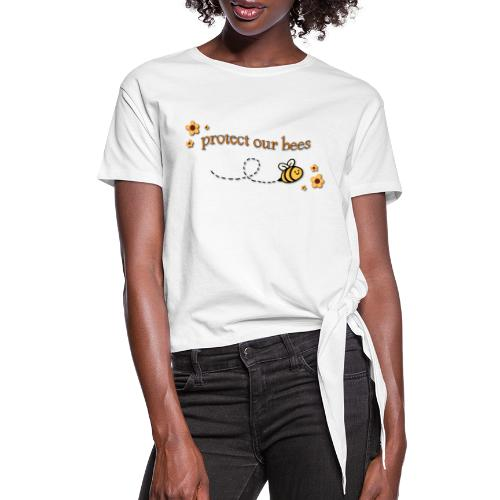 save the bees - Women's Knotted T-Shirt