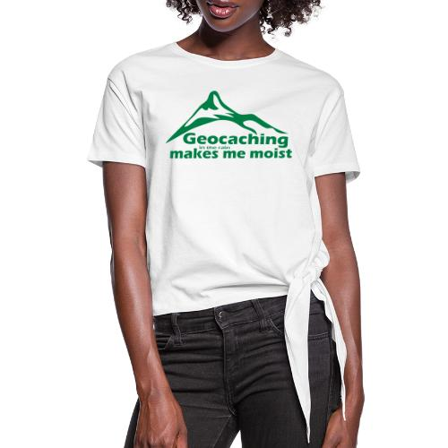 Geocaching in the Rain - Women's Knotted T-Shirt