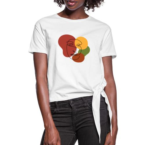 abstract minimalist face - Women's Knotted T-Shirt