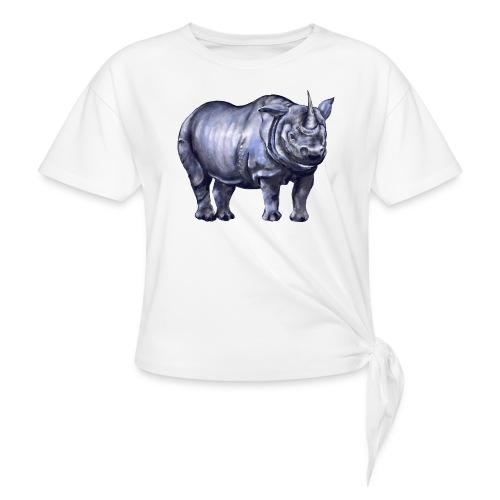 One horned rhino - Women's Knotted T-Shirt