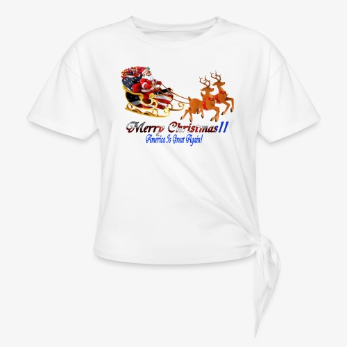 Merry Christmas-America - Women's Knotted T-Shirt