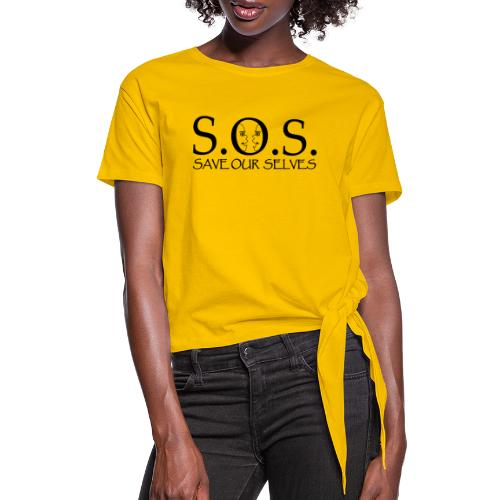 SOS Black on Black - Women's Knotted T-Shirt