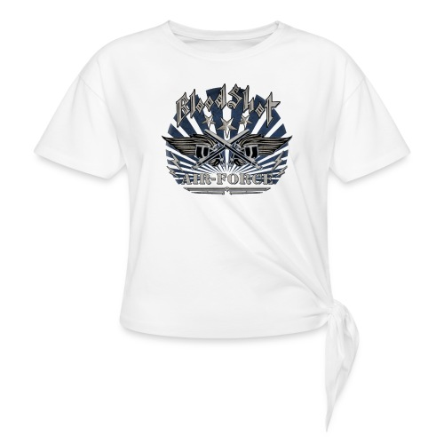 BloodShot Air Force with black - Women's Knotted T-Shirt